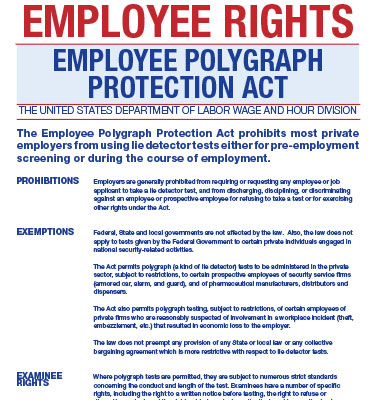 Employee polygraph protection act poster workforce solutions other posters publicscrutiny Gallery